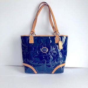 COACH navy blue and tan patent leather tote EUC